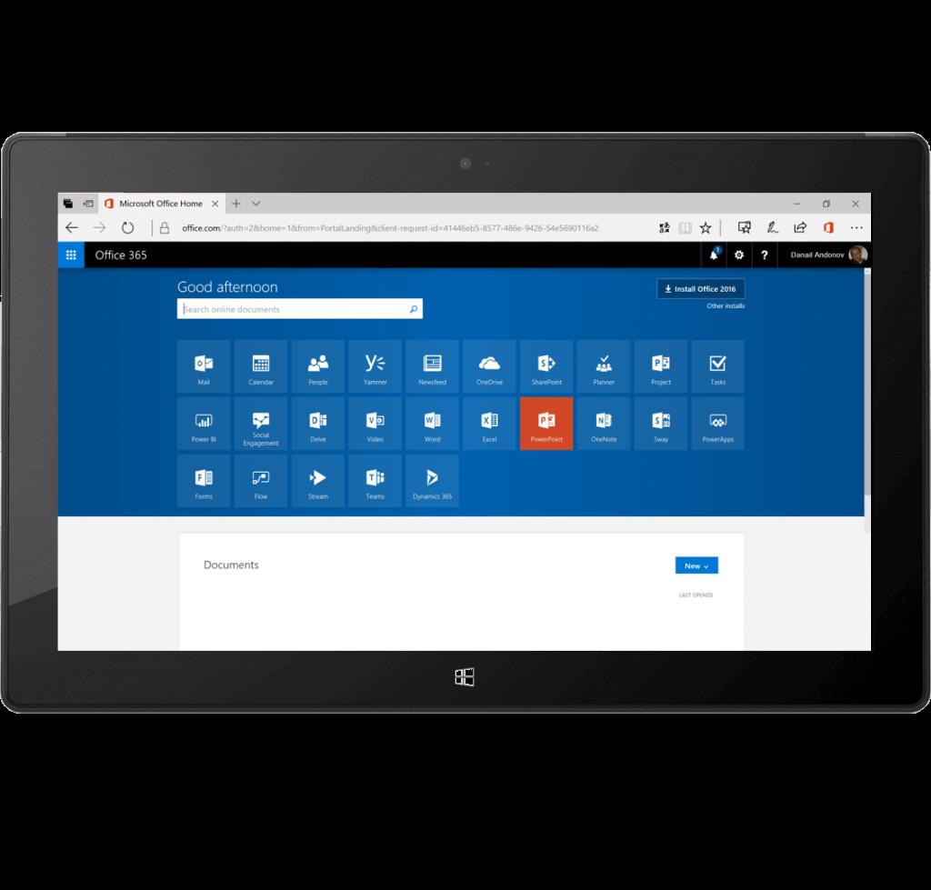 Office 365 screenshot