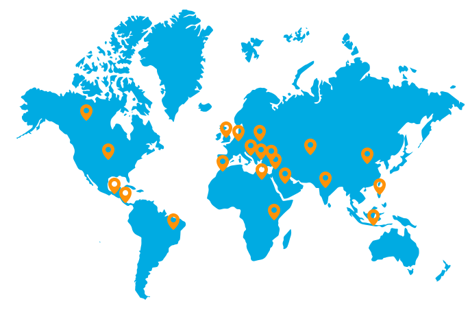 map - locations of IS customers